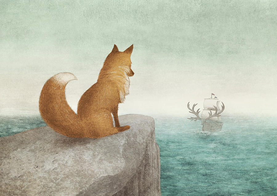 Fox Drawing - The Day the Antlered Ship Arrived by Eric Fan