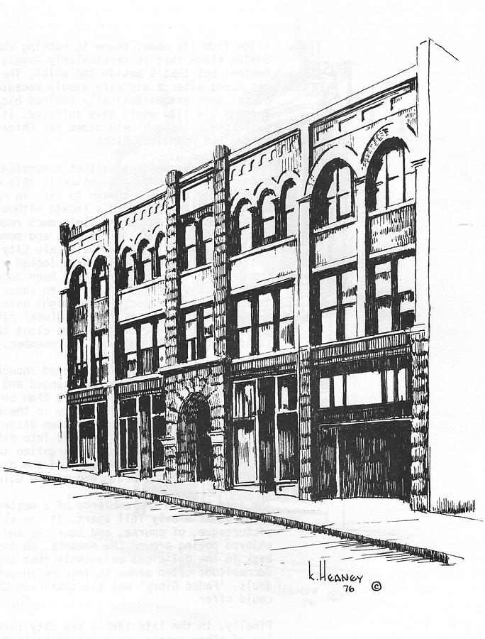 Helena Drawing - The Denver Block Helena Montana by Kevin Heaney