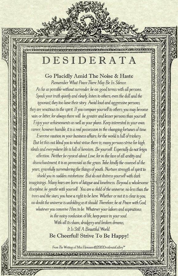 The Desiderata by Max Ehrmann, Antique Mirror Design by Desiderata Gallery