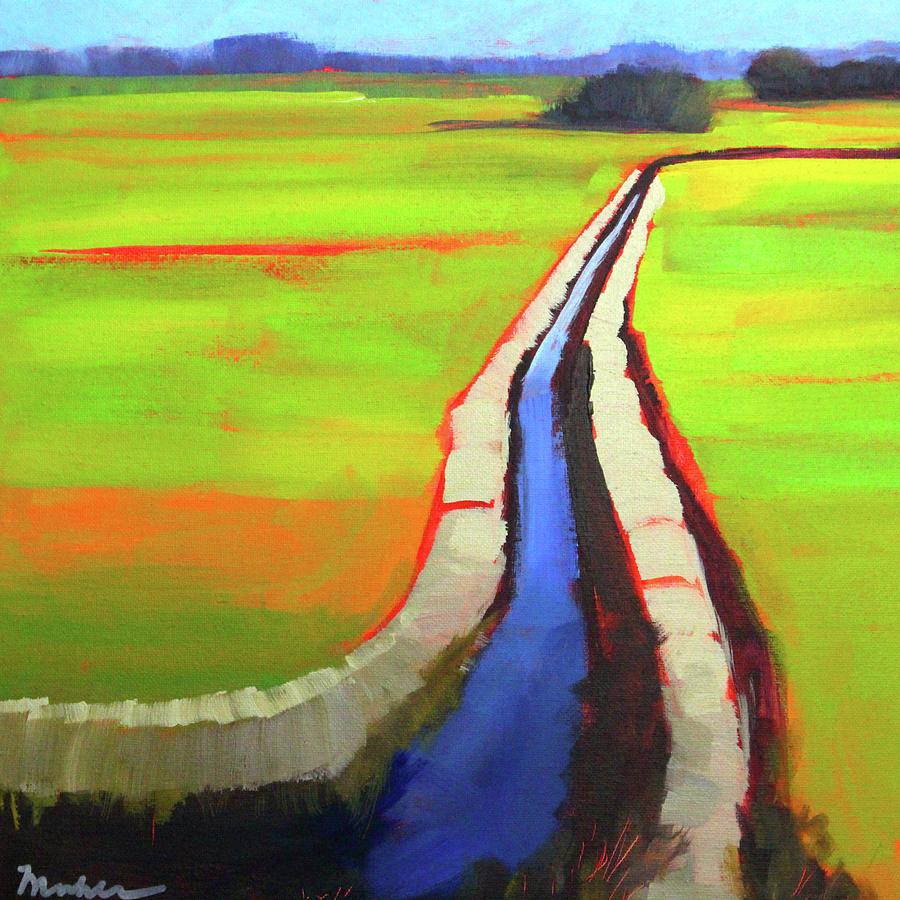 Prairie Landscape Painting - The Ditch by Nancy Merkle
