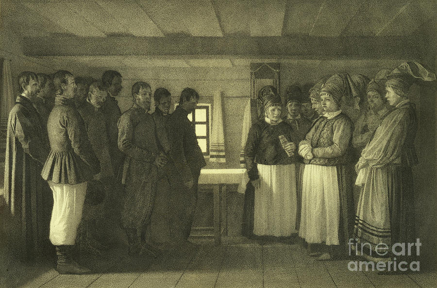 The Doukhobors Praying, 1865. Artist Drawing by Heritage Images