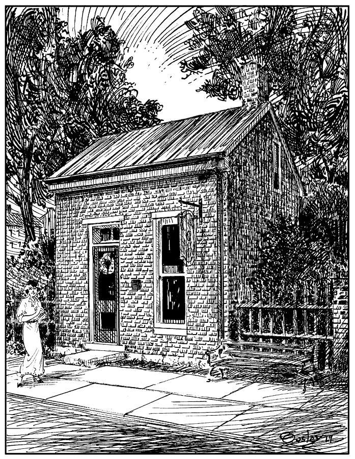 Pen Drawing - The Dr. Mcphail Building In Historic Franklin Tennessee by Chris Ousley