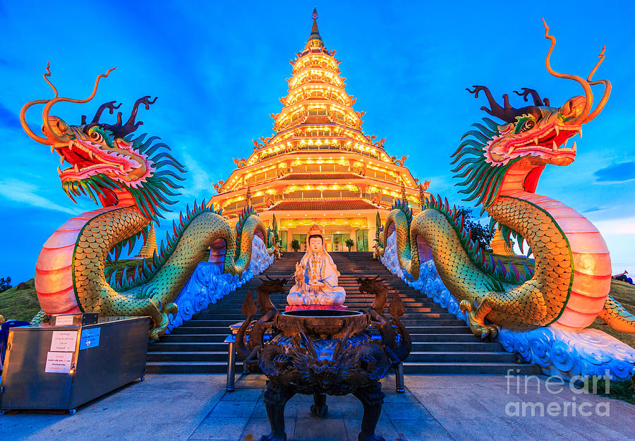 Sukhothai Photograph - The Dragon In Temple Wat Hyua Pla Kang by Apiguide