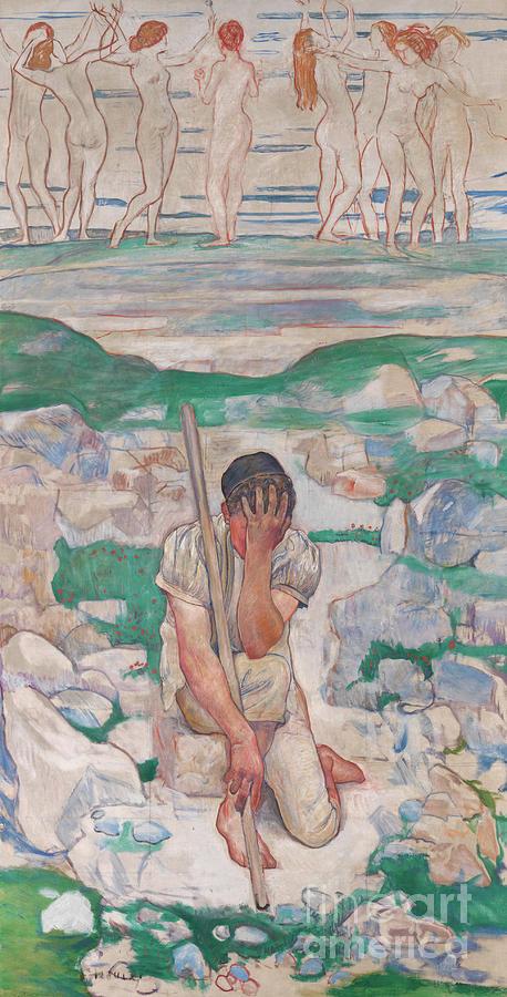 Ferdinand Hodler Painting - The Dream Of The Shepherd, 1896  by Ferdinand Hodler