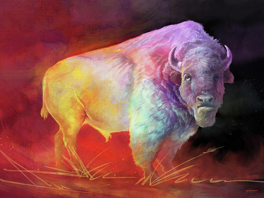 Buffalo Digital Art - The Drifter by Steve Goad