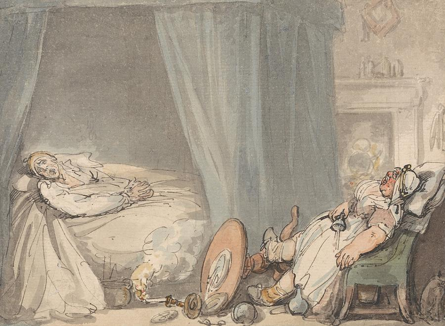 Thomas Rowlandson Drawing - The Drunken Nurse by Thomas Rowlandson