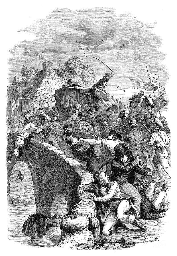The Election Riot At Hawick, Scottish Drawing by Print Collector