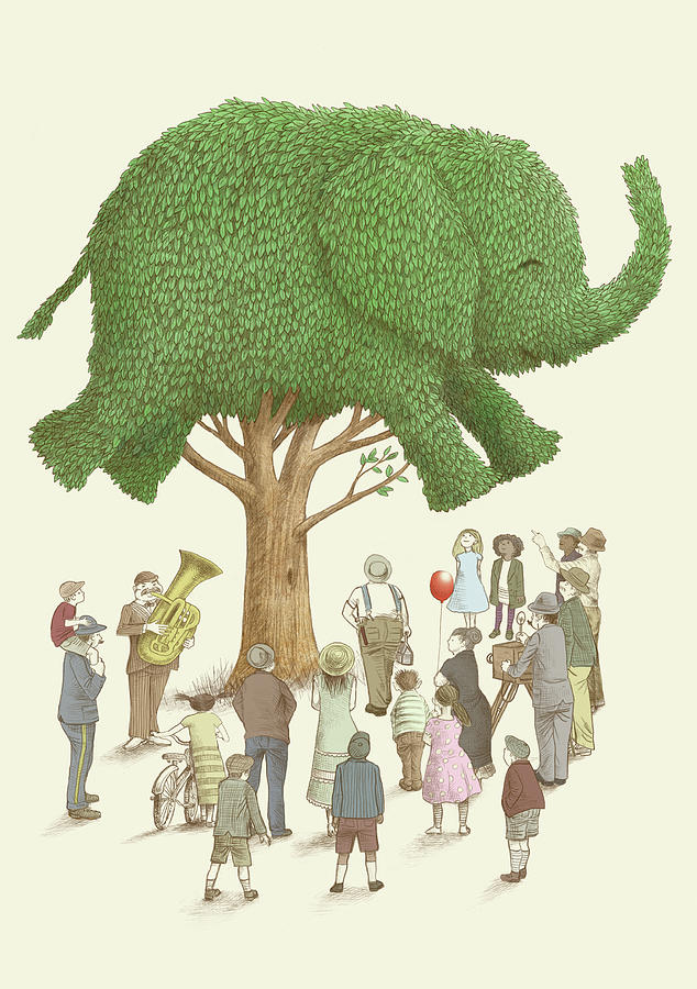 Elephant Drawing - The Elephant Tree by Eric Fan