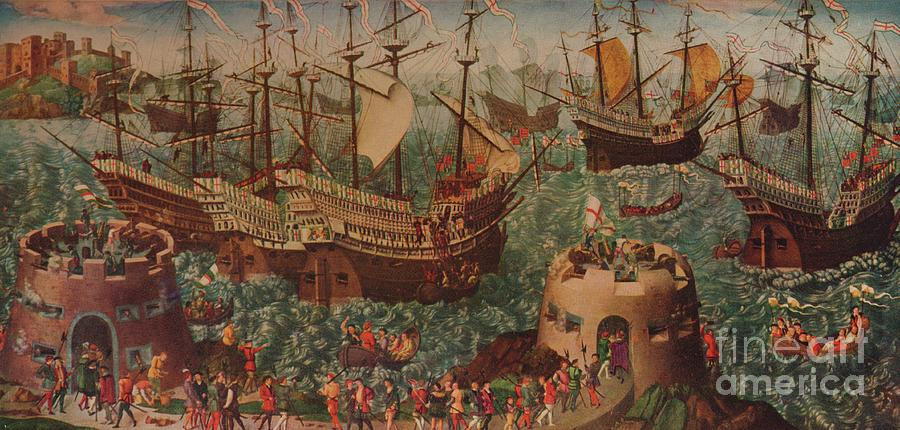The Embarkation Of Henry Viii At Dover Drawing by Print Collector