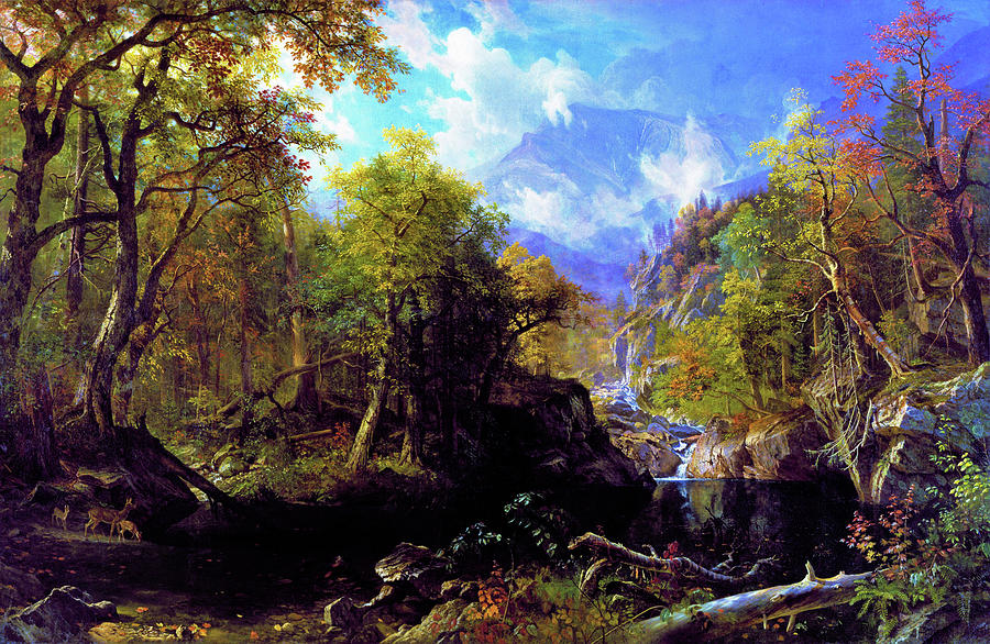 The Emerald Pool Painting - The Emerald Pool - Digital Remastered Edition by Albert Bierstadt