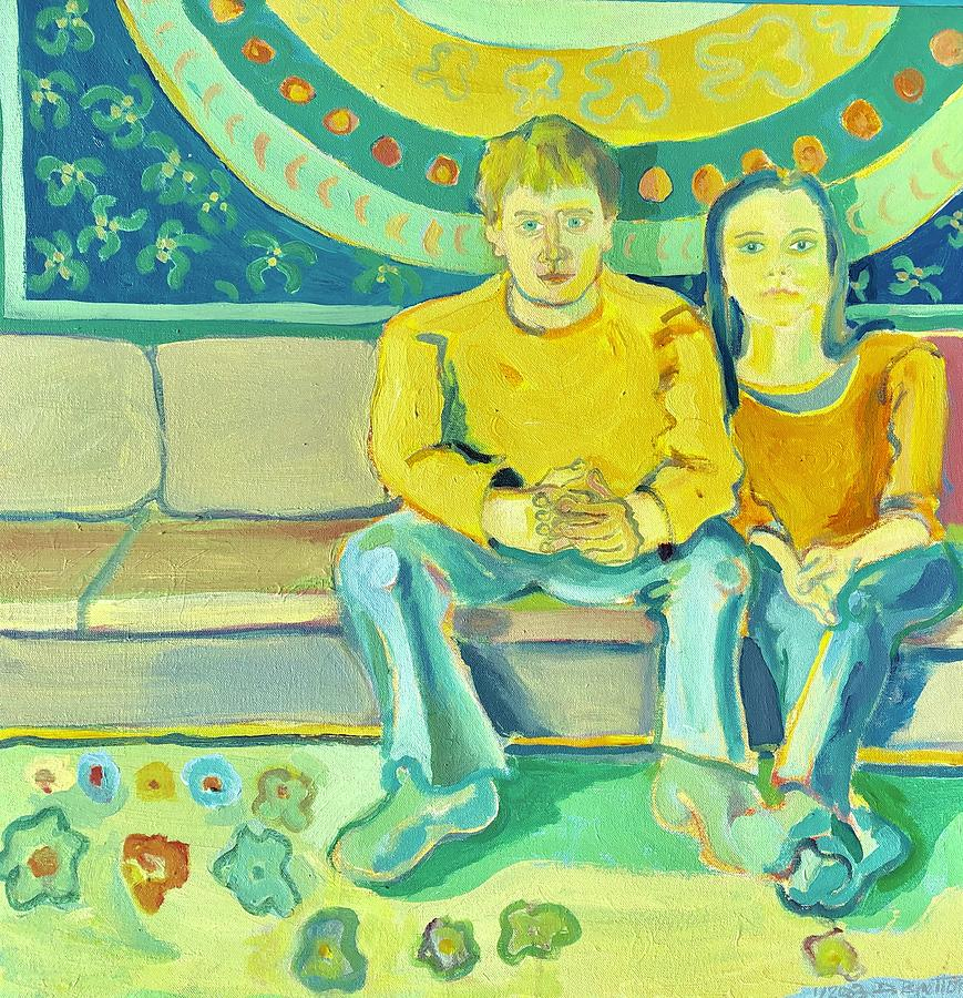 Portrait Painting - The Engaged Couple by Debra Bretton Robinson