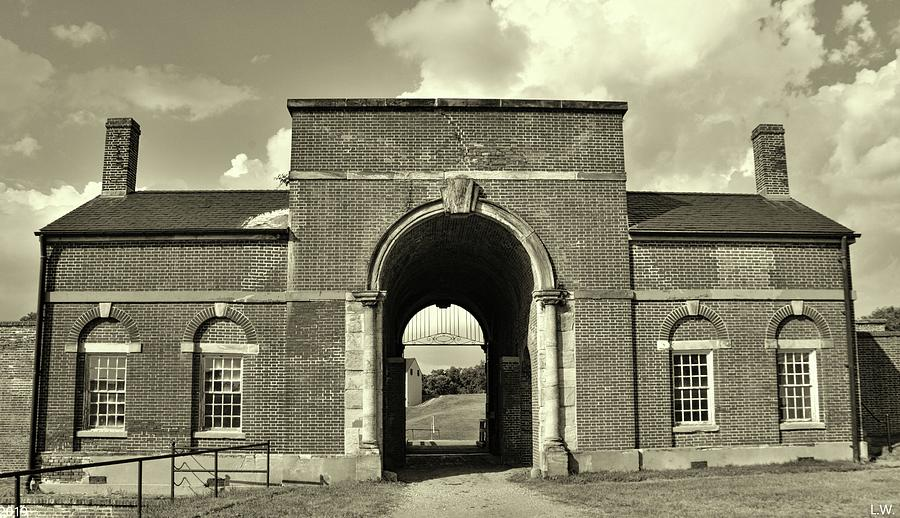 The Entrance To The Fort At Fort Washington Black And White 2 by Lisa Wooten