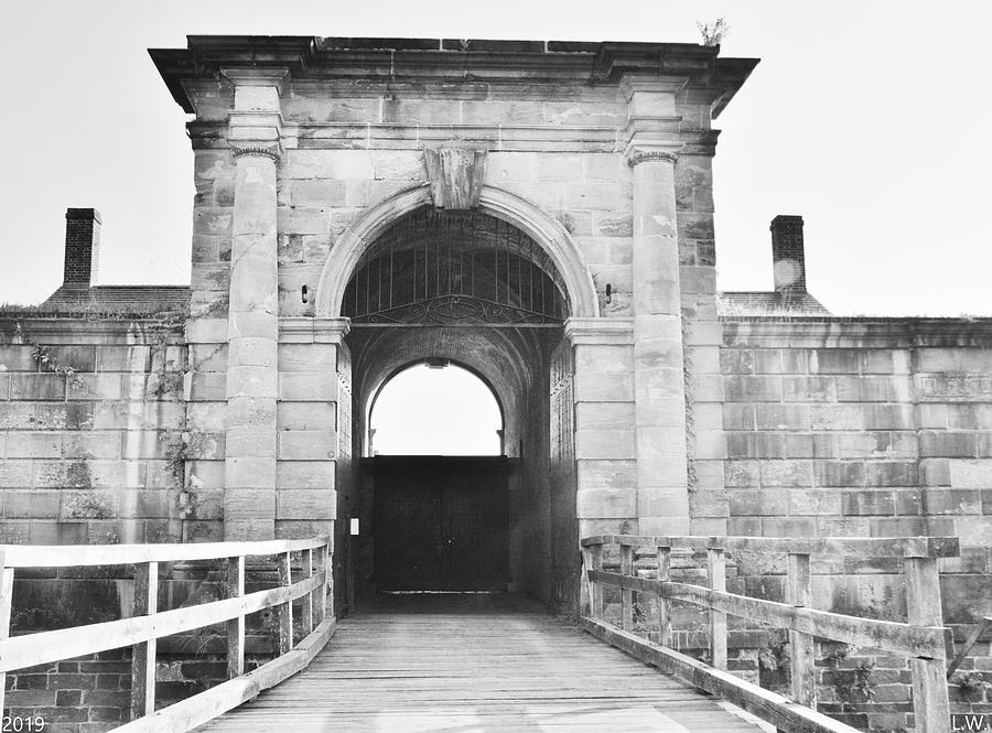The Entrance To The Fort At Fort Washington Black And White by Lisa Wooten
