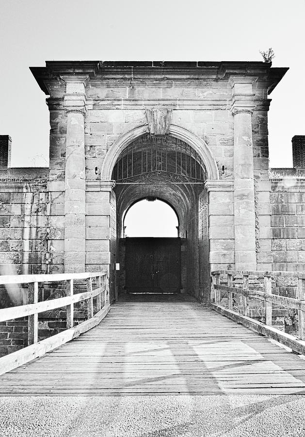 The Entrance To The Fort At Fort Washington Park Black And White Vertical by Lisa Wooten