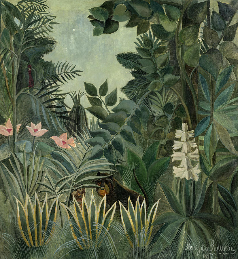 Henri Rousseau Painting - The Equatorial Jungle, 1909 by Henri Rousseau