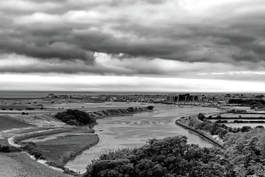 The Estuary At Amble Monochrome by Jeff Townsend