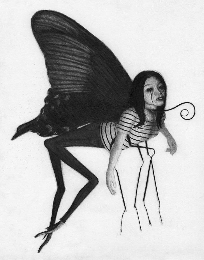 Horror Drawing - The Evening Butterfly - Artwork by Ryan Nieves