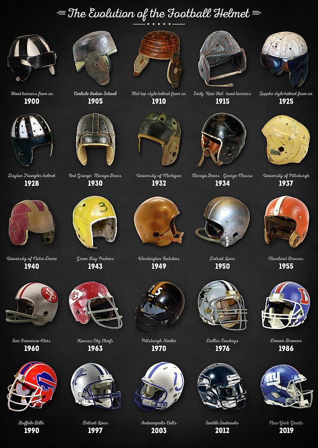 The Evolution Of The Football Helmet Digital Art