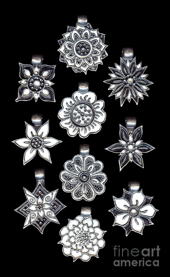 The Exalted Beauty Empress Medallions. Antique Silver Onyx and Pearl by Amy E Fraser