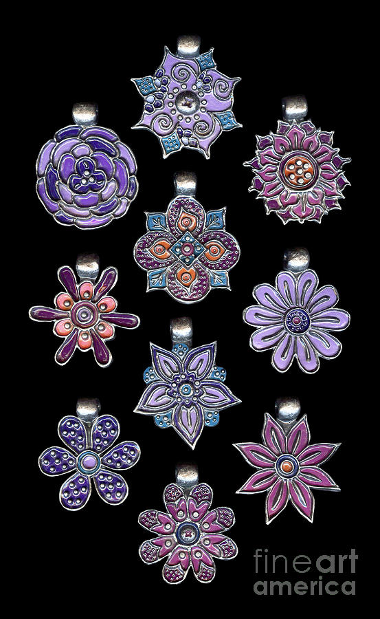 The Exalted Beauty Empress Medallions. Antique Silver Purple Haze by Amy E Fraser