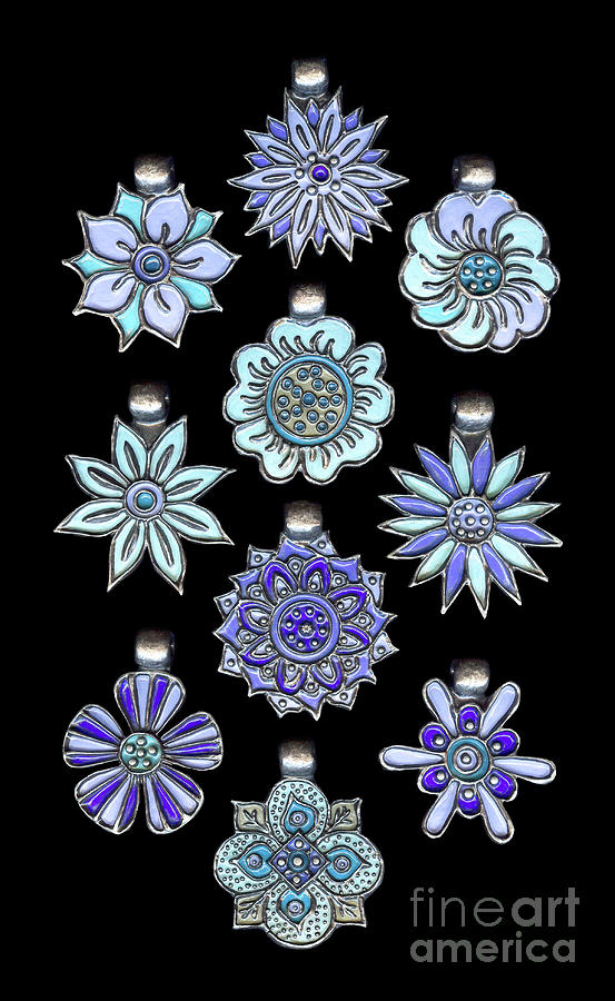 The Exalted Beauty Empress Medallions. Antique Silver Sky Blue by Amy E Fraser