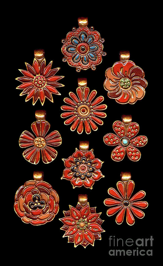 The Exalted Beauty Empress Medallions. Classic Red by Amy E Fraser