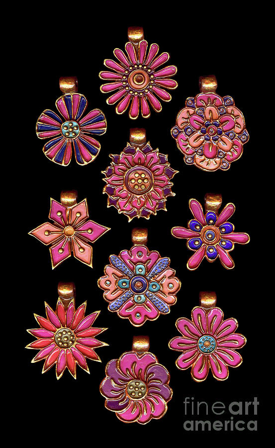 The Exalted Beauty Empress Medallions. Fuchsia Burst by Amy E Fraser