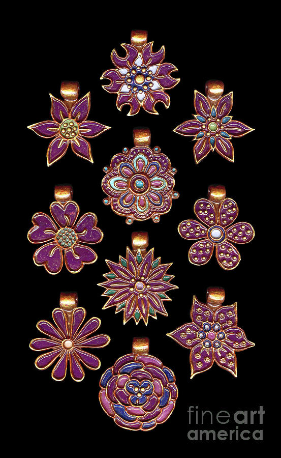The Exalted Beauty Empress Medallions. Gothic Grape by Amy E Fraser