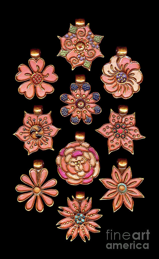 The Exalted Beauty Empress Medallions. Traditional Coral by Amy E Fraser