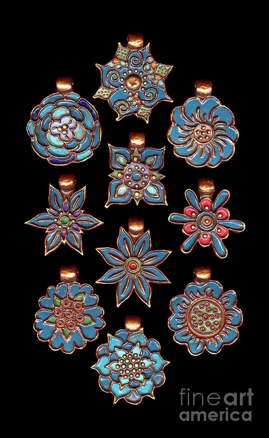 The Exalted Beauty Empress Medallions. Vintage Teal by Amy E Fraser