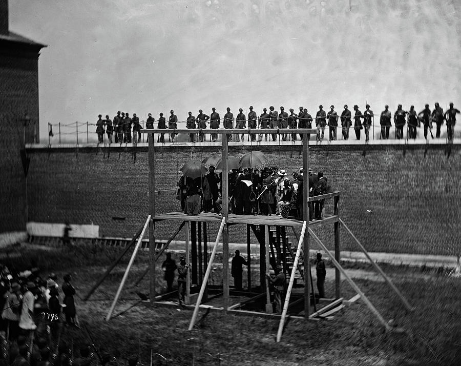 Execution Painting - The Execution Of The Lincoln Conspirators, John F. Hartranft Reading The Death Warrant, 1865 by Alexander Gardner