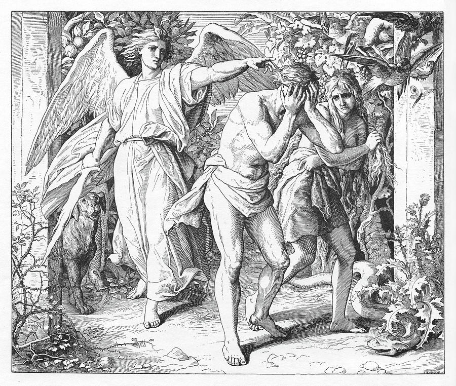 Bible Painting - The Exile From Paradise, Genesis by Julius Schnoor von Carolsfeld