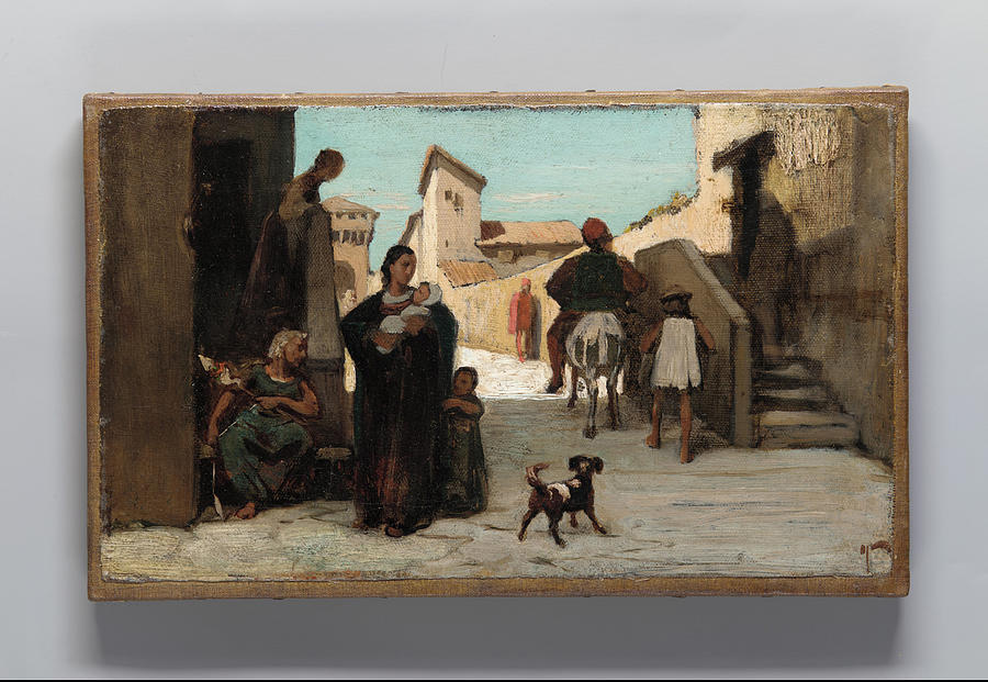 Elihu Vedder Painting - The Fable Of The Miller  His Son  And The Donkey  by Elihu Vedder