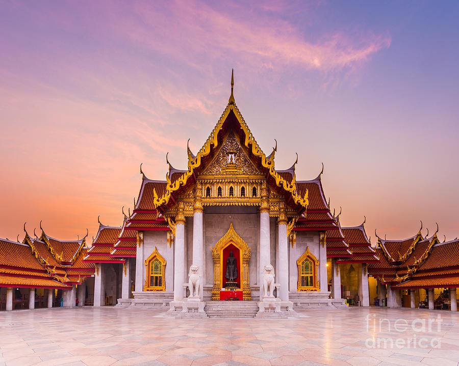 Exterior Photograph - The Famous Marble Temple Benchamabophit by Pumidol