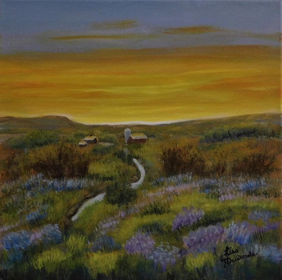 Landscape Painting - The Farm at Dusk by Lisa MacDonald