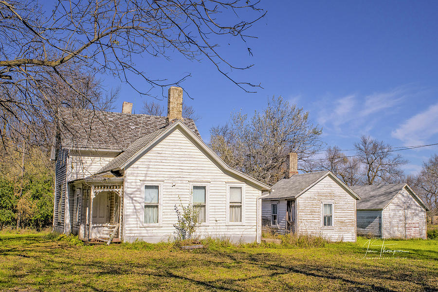 Farm Life Photograph - The Farmhouse, Washhouse And Garage by Jim Thompson