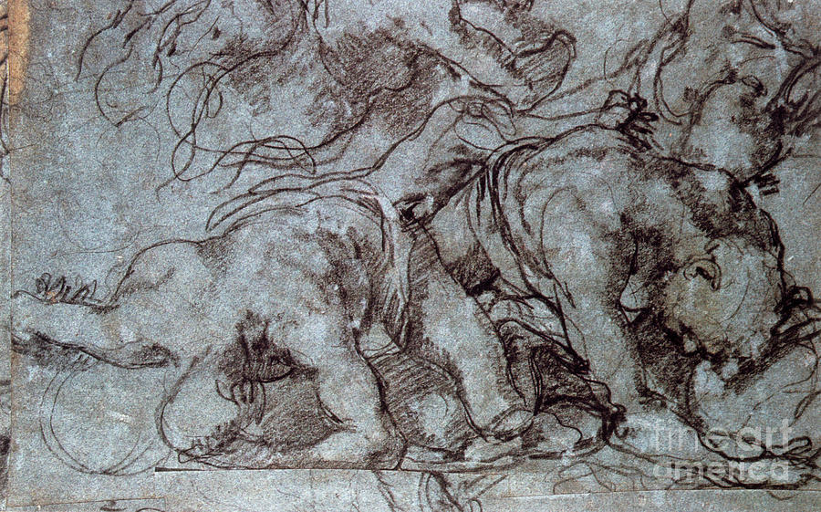 The Fighters, 16th Century. Artist Drawing by Print Collector