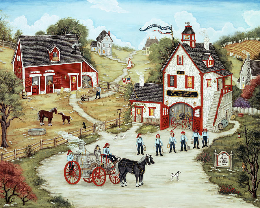 Country Painting - The Firemen Of Spring Valley by Ann Stookey