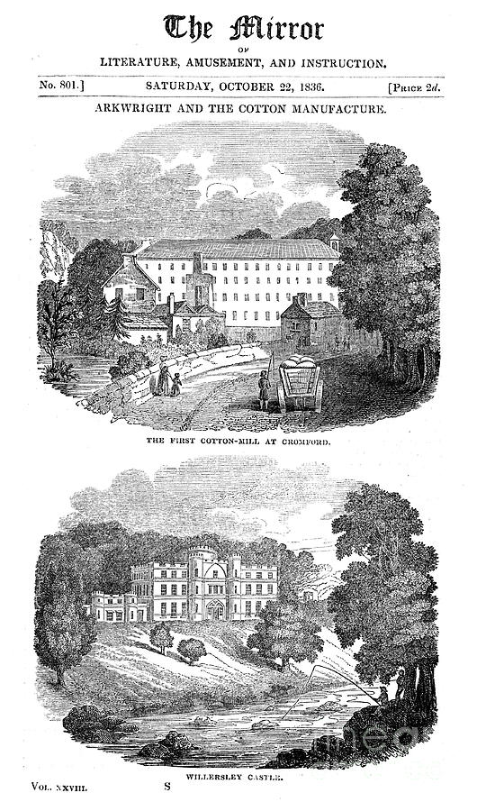 The First Cotton Mill At Cromford Drawing by Print Collector