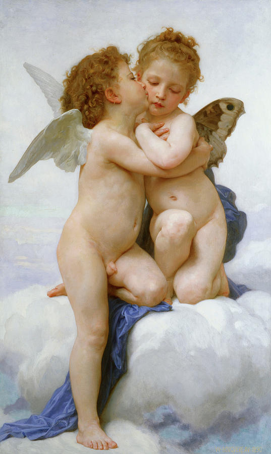 Bouguereau Painting -  The First Kiss, 1890 by William-Adolphe Bouguereau
