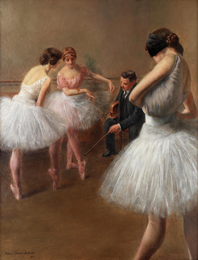 Corps De Ballet Painting - The First Pose, The Ballet Lesson by Pierre Carrier-Belleuse