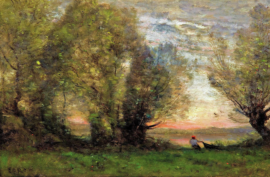 Jean-baptiste Camille Corot Painting - The Fisherman- Evening Effect - Digital Remastered Edition by Jean-Baptiste Camille Corot