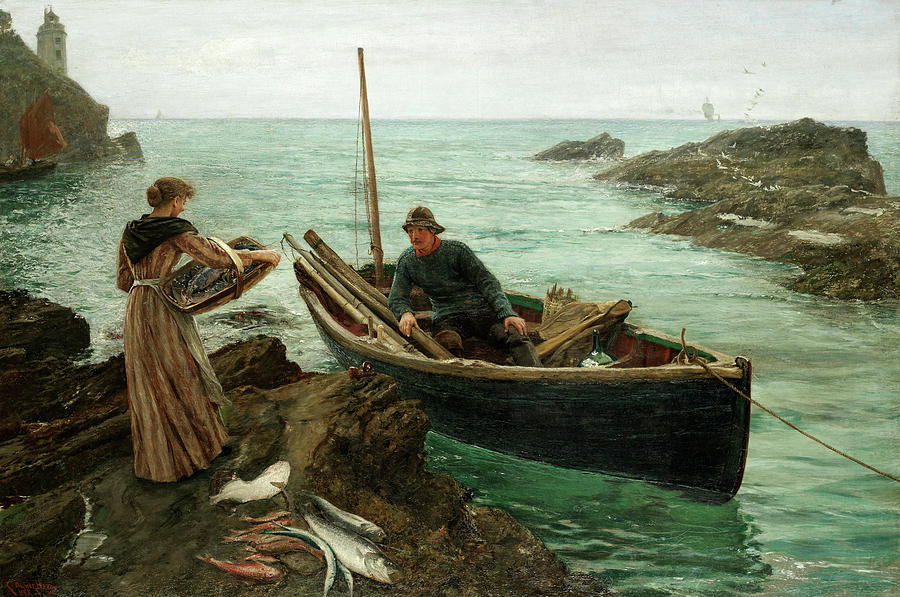 Charles Napier Hemy Painting - The Fishermans Sweetheart by Charles Napier Hemy