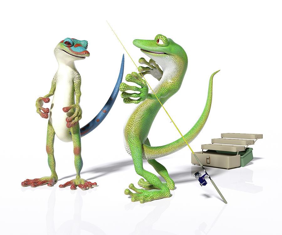 Gecko Digital Art - The Fishing Tale by Betsy Knapp