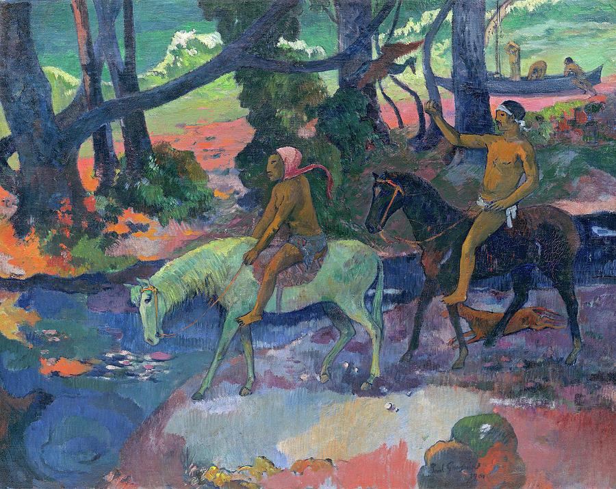 Paul Gauguin Painting - The Flight, 1901 by Paul Gauguin