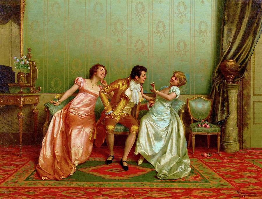 The Flirt Painting By Vittorio Reggianini