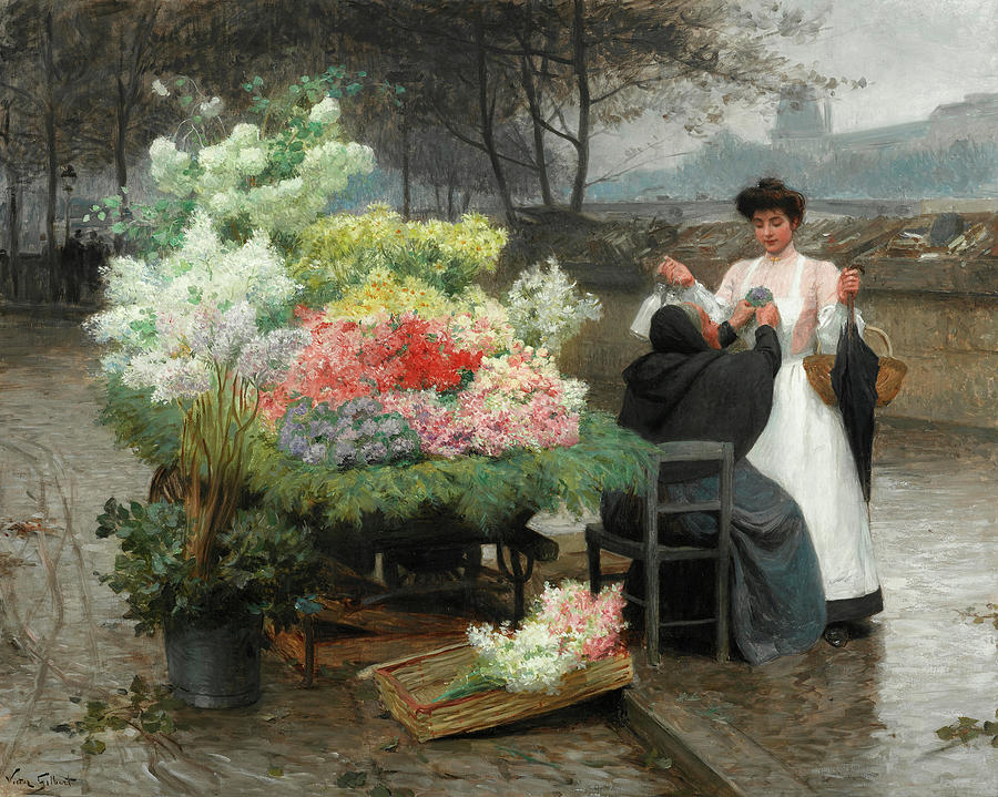 Flower Vendor Painting - The Flower Vendor On The Quays In Paris by Victor-Gabriel Gilbert
