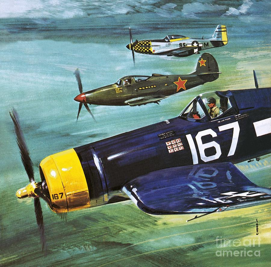 Plane Painting - The Flying Ghosts by Gerry Wood