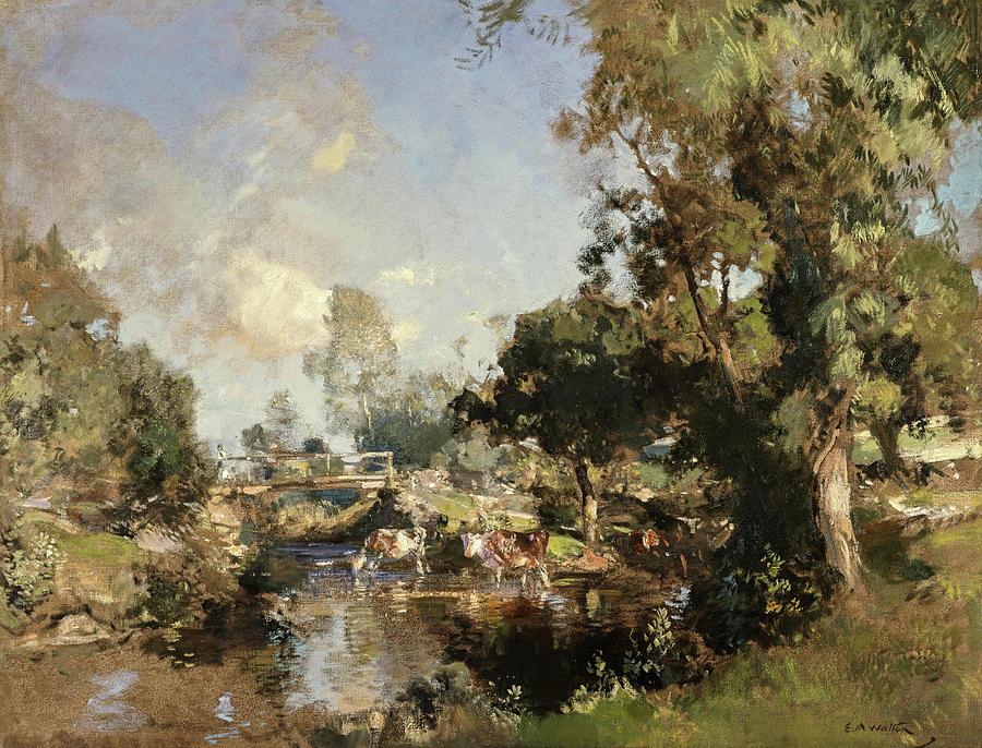 Edward Walton Painting - The Ford, New Abbey, 1917 by Edward Arthur Walton