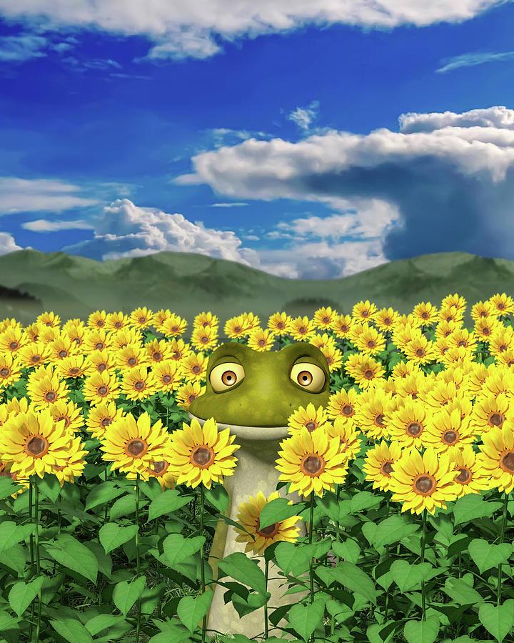 Sunflower Digital Art - The Friendly Frog by Betsy Knapp